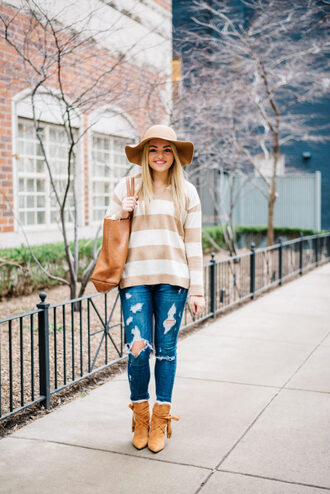 bows&sequins blogger sweater shoes bag hat tote bag felt hat ankle boots spring outfits ripped jeans