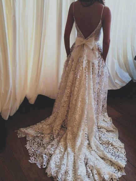 wedding dress bows backless dress bows dress lace wedding dresses prom dress ball gown lace white lace dress spaghetti strap beautiful dress backless low back