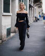 pants,wide-leg pants,sandals,striped pants,handbag,off the shoulder,cropped sweater