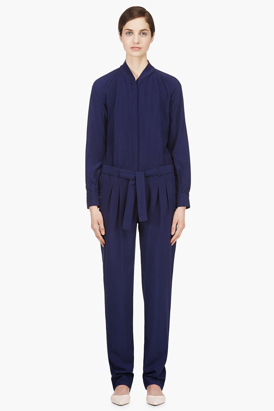 veronique branquinho indigo matte silk jumpsuit