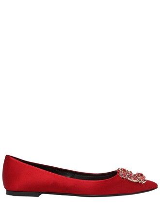flats satin red shoes