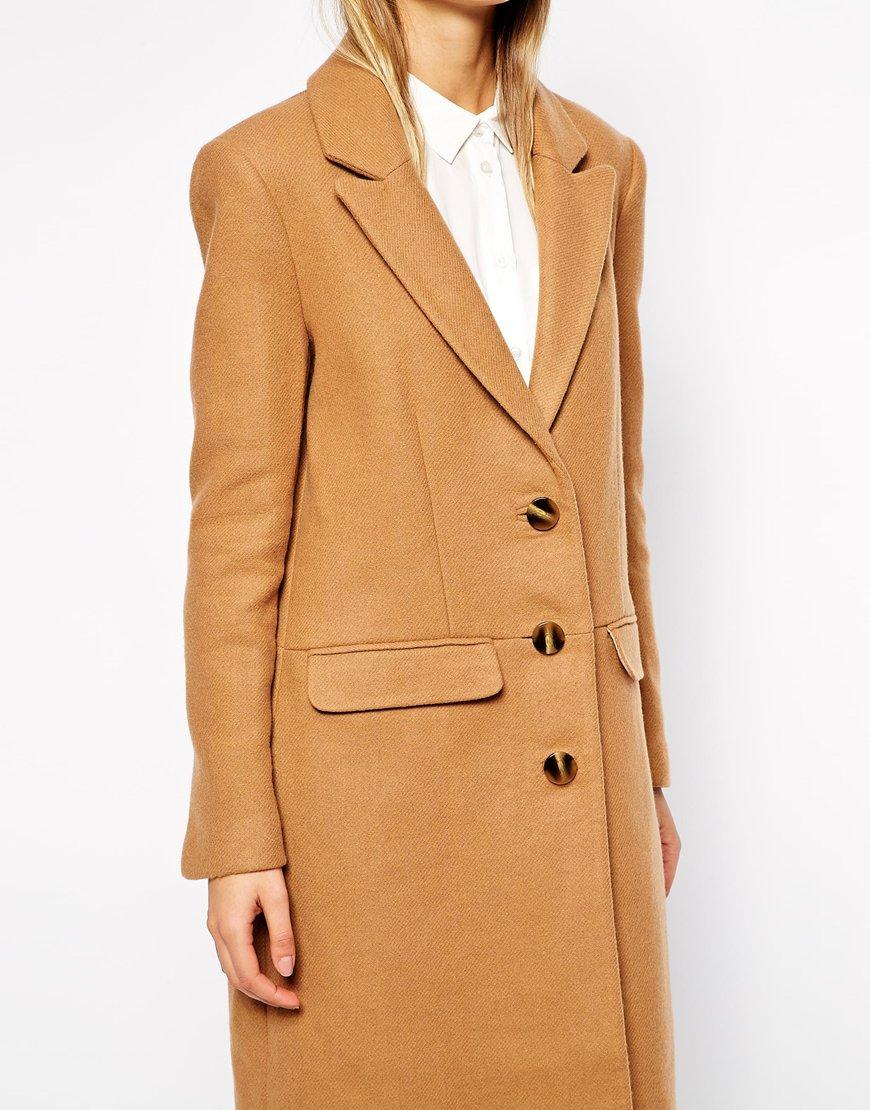 Asos tall midi coat in wool at asos.com