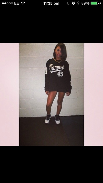 sweater black sporty jumper varsity basketball jordan's stripes oversized sweater