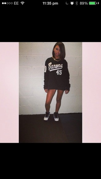 varsity sweater black sporty style jumper basketball jordan's stripes oversized sweater