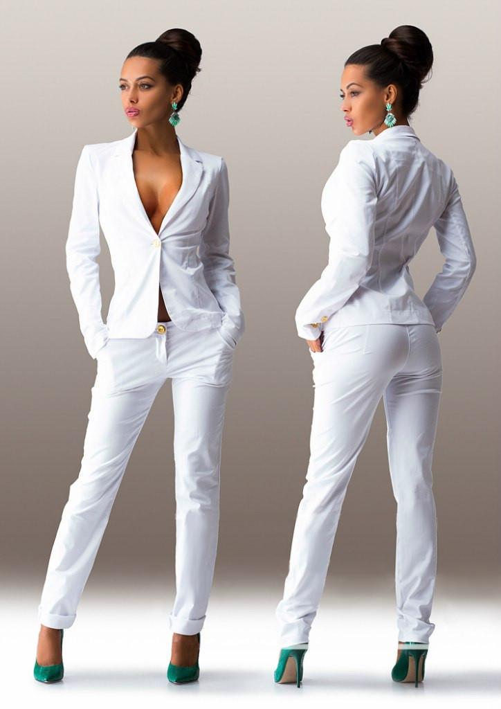 Women S Classy Cotton One Button Jacket Cigarette Trousers Suit Set