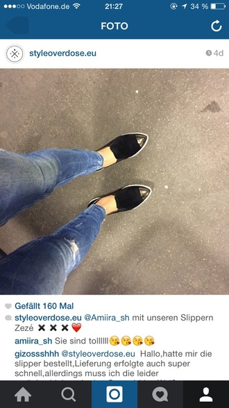 shoes black white metallic loafers jeans