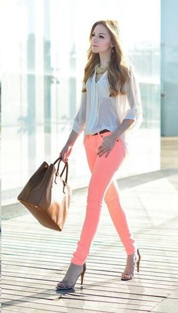 pants neon pink skinny pants
