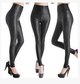Fashion Sexy Shiny Metallic High Waist Black Stretchy Leather Leggings Pants K587-in Legging from Apparel & Accessories on Aliexpress.com