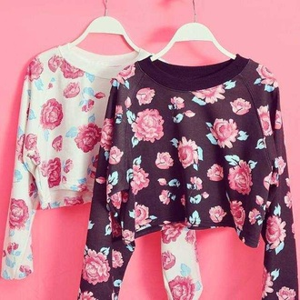 shirt white black floral pink crop crop shirt crop shirts crops roses rosy rose red fashion style outfit