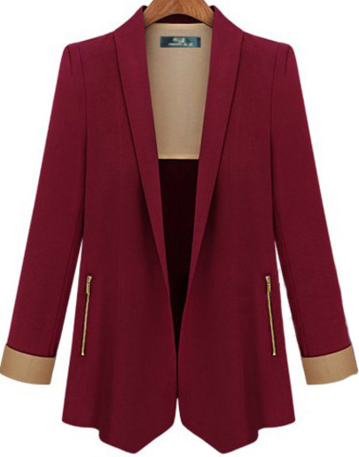 Wine Red Lapel Long Sleeve Fitted Blazer - Sheinside.com