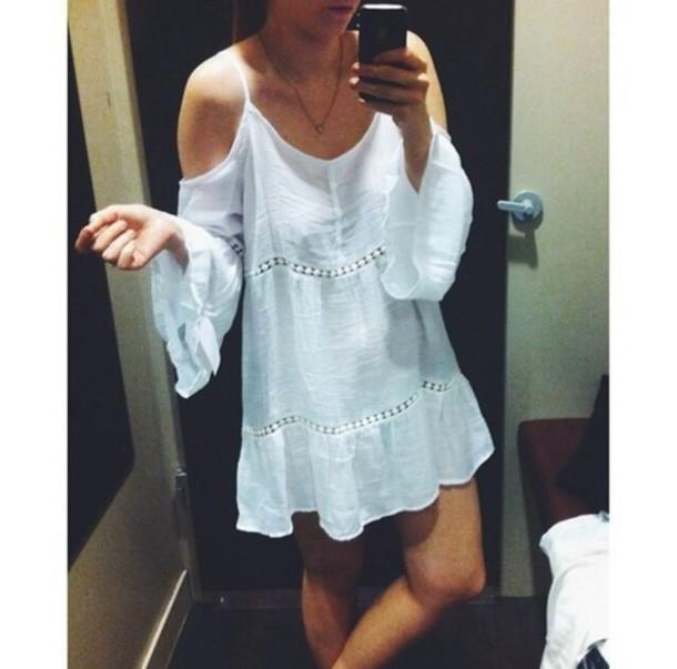 9af4863d2e dress boho white cotton eyelet flowy light cute short long sleeve dress  hippe 1960s flower child