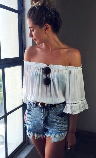 blouse off the shoulder white off the shoulder off the shoulder top white shirt boho shirt bohemian summer top spring top