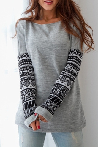 top pattern long sleeves fall outfits tribal pattern warm cozy grey black winter outfits stylish clothes