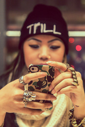 jewels,trill,beanie,phone cover,camouflage,gold,tiger,teeth,ring