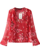 blouse,transparent,brenda-shop,shirt,top,red,floral,flowers,ruffle,flare,sheer,date outfit,office outfits