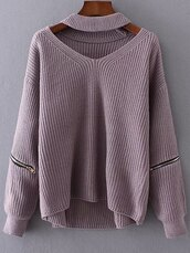 sweater,fall outfits,fashion,style,long sleeves,fall sweater,knitwear,choker necklace,trendy,zaful,shirt,cut-out,knit,knitted sweater,v neck,purple,gamiss,choker sweater,pleasefind,baggy,comfy,cute,cute top,sweater weather,lilac,winter sweater,winter outfits,oversized,oversized sweater,strickpullover,soft puple or red or black or gray y,zip,autumn/winter,blouse,jumper,cotton