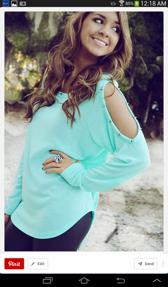 mint shirt studded shirt