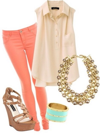 blouse peach turquoise jewelry cream skinny pants heels wedges summer outfits day outfit cute jewels jeans