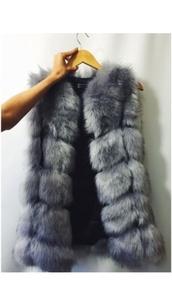 coat,gilet fluffy faux fur grey
