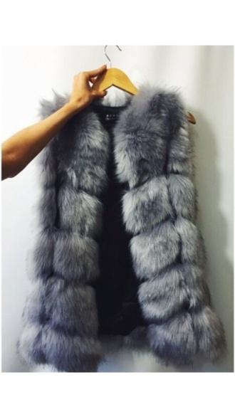 coat gilet fluffy faux fur grey