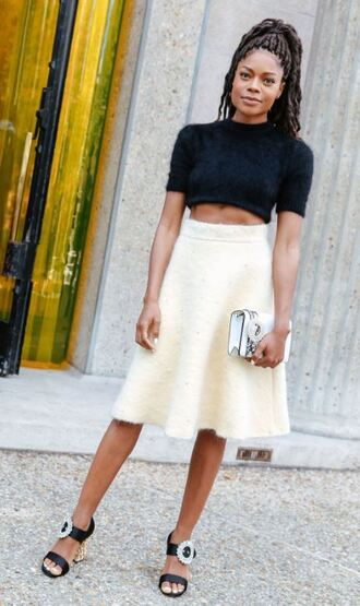skirt crop tops naomie harris paris fashion week 2017 streetstyle top midi skirt