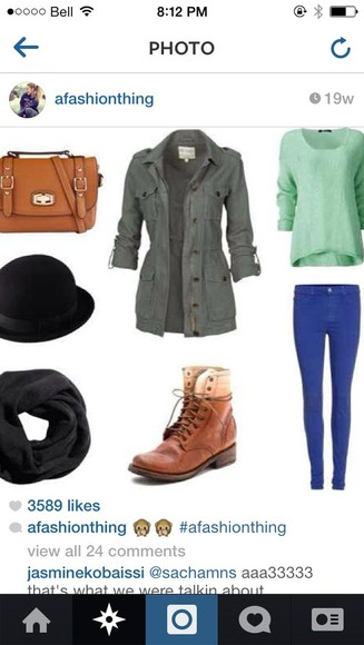 jacket army green hat london look