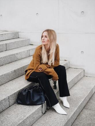 le fashion image blogger sweater bag pants shoes brown sweater white boots winter outfits