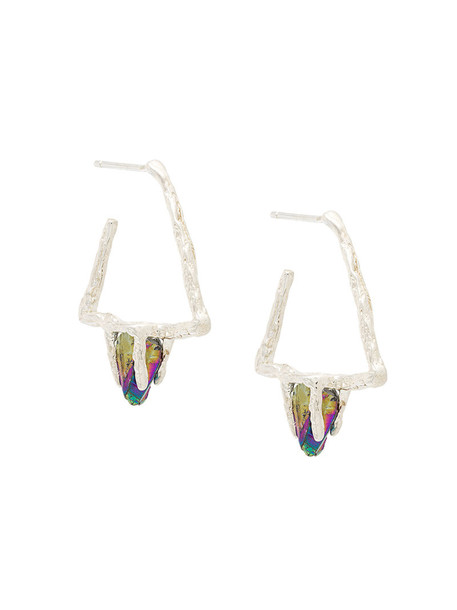Niza Huang women earrings silver grey metallic jewels