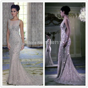 Sparkly Crystal Beaded Evening Dresses 2014 Bateau Neck Backless Mermaid Chapel Train Prom Party Gowns Free Shipping-in Evening Dresses from Weddings & Events on Aliexpress.com | Alibaba Group