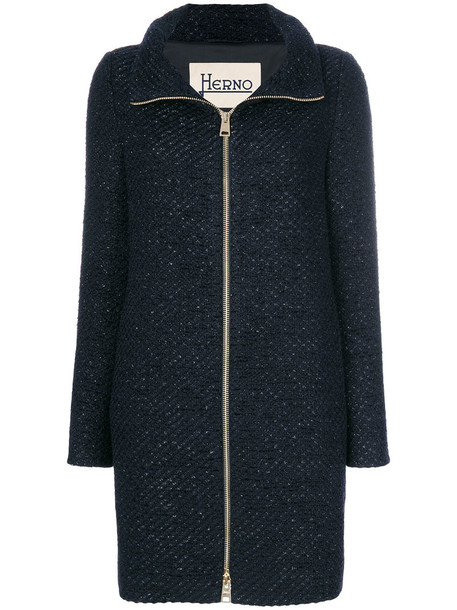 Herno coat glitter women blue wool