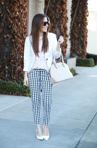 dress corilynn blogger gingham printed pants handbag
