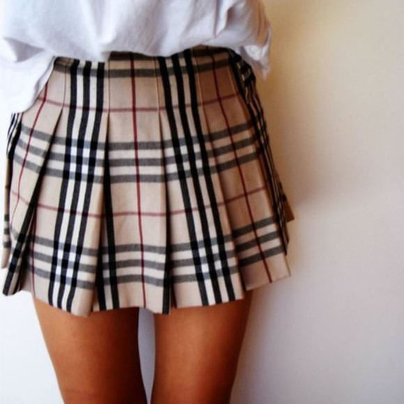 pleated skirt tartan skirt mini skirt clothes winter skirt cute skirts beige skirts tumblr clothes