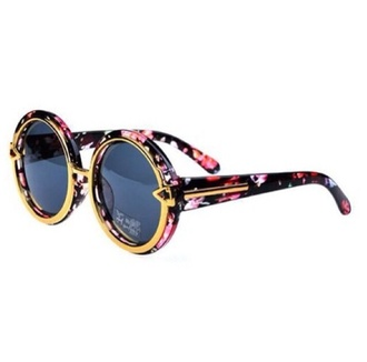 sunglasses retro floral fashion gold popular trendy vintage round sunglasses