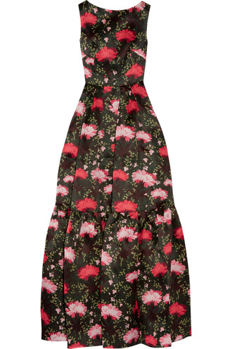 gown floral print silk black red dress