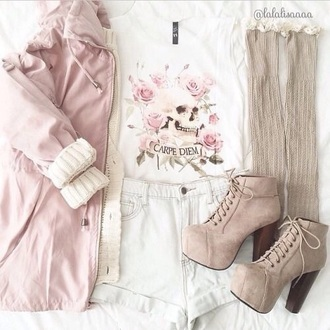 dress shorts shoes heels tumblr skull pastel pink pink floral shirt jacket