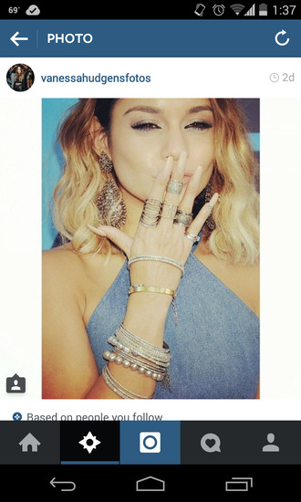jewels ring earrings bracelets bangles silver vanessa hudgens bracelet stack gold. watch blouse nail accessories