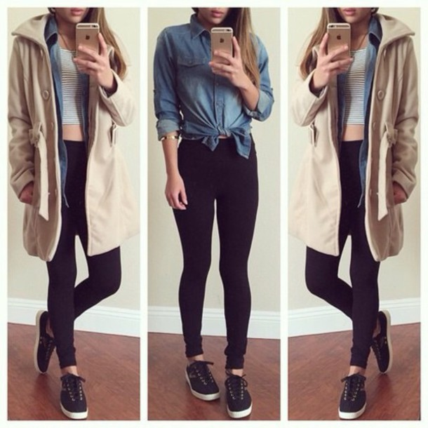 coat blouse pants tank top shoes