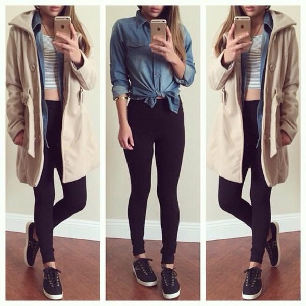 coat blouse pants tank top shoes