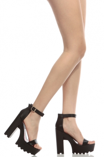 84e365fe2d Black Faux Leather Ankle Strap Lug Sole Chunky Heels @ Cicihot Heel Shoes  online store sales:Stiletto ...