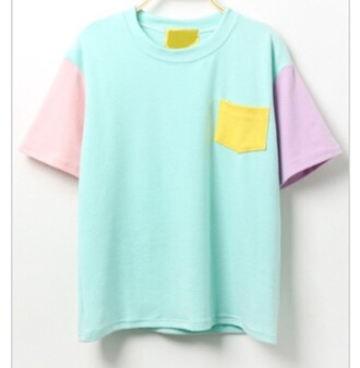 top colorblock mint korean fashion shirt color block shirt pocket t-shirt pastel t-shirt blue yellow pink