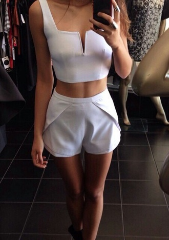 shorts white outfit summer top short