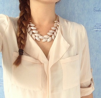 blouse shirt creme peach light pink jewels necklace gold gold necklace pearl cute girly