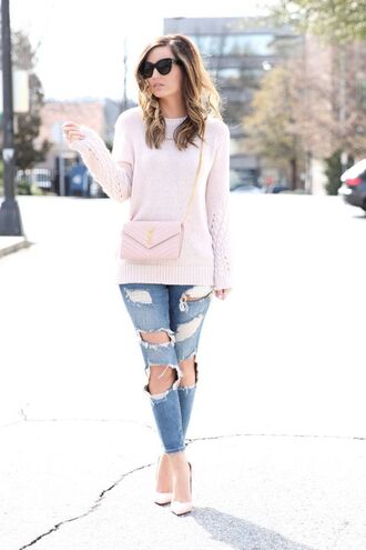 for all things lovely blogger pink sweater saint laurent bag ripped jeans
