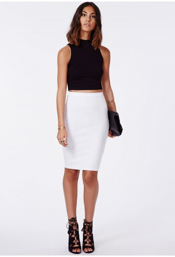 Missguided - Candace Scuba Midi Skirt In White