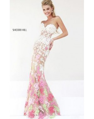 Ivory Coral Sherri Hill 11134 Prom Dress