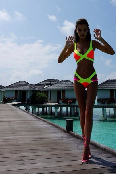 swimwear neon neon bikini neon swimsuit neon yellow neon orange pink two piece swimwear. Black Bedroom Furniture Sets. Home Design Ideas