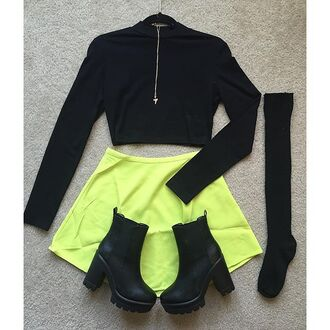 skirt neon lime skirt skater skirt neon skater skirt neon skirt high waisted skirt ootd winter outfits chunky heels yellow skirt neon yellow skirt knee high socks black knee socks divergence clothing ariana grande crop tops black crop top chunky sole lime green skirt neon yellow