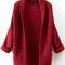 Red long sleeve pockets knit cardigan -shein(sheinside)