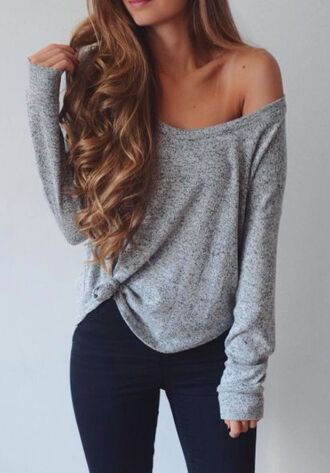 sweater fall outfits cute cozy grey sweater off the shoulder grey long sleeved top
