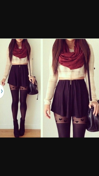 skirt scarf winter sweater shirt sweater tumblr outfit tumblr skater outfit skater skirt crop tops bags and purses bag blouse socks winter outfits tight tights black stockings